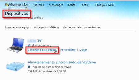 dispositivos skydrive Configurar Windows Live Sync Beta
