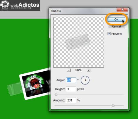 emboss layer Crear una cinta adhesiva en Photoshop