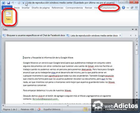 documentos en tabs word1 Agregar Tabs a tus documentos de Word