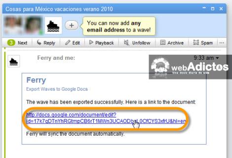 exportar wave desde google docs1 Exporta y Respalda la información de tu Google Wave