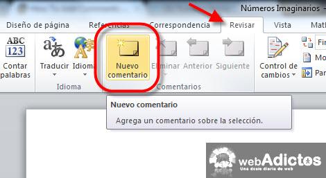 nnuevo comentario word 2010 Insertar comentarios en Word 2010