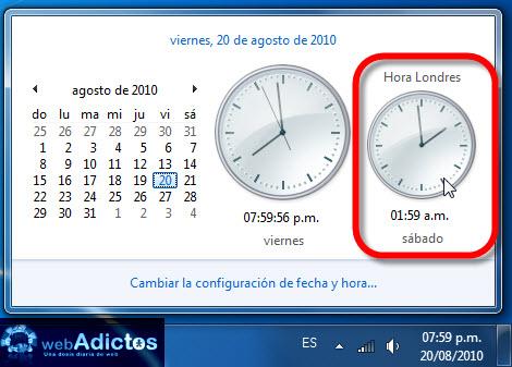 segundo reloj windows 7 Agregar un segundo reloj en Windows 7