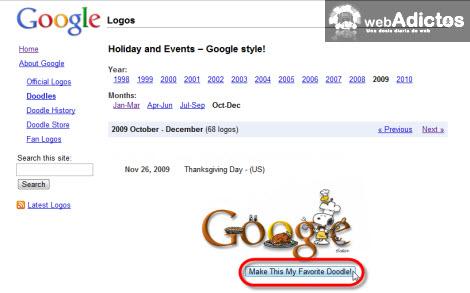 galeria google doodle Cambiar el logotipo de Google por Google Doodle Favorito