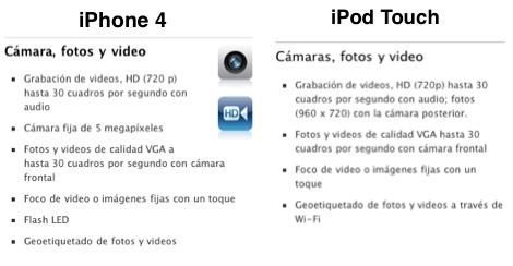iphone ipod touch camara iPhone 4 vs iPod Touch, pantalla y cámara frente a frente