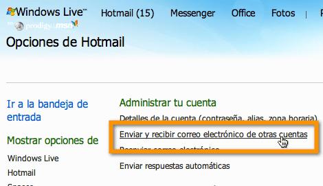 hotmail 3 Agregar tus servicios de correo electrónico externo a Hotmail