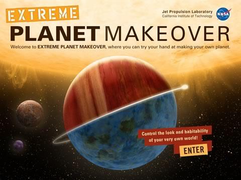 juego nasa planetas Extreme Planet MakeOver, crea tu propio planeta