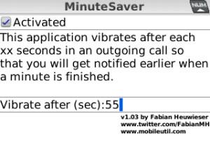 minutesaver Medir tiempo de llamadas en blackberry con MinuteSaver