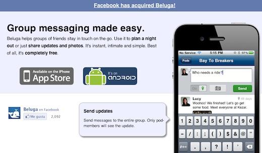 facebook compra Beluga Facebook adquiere a la startup Beluga