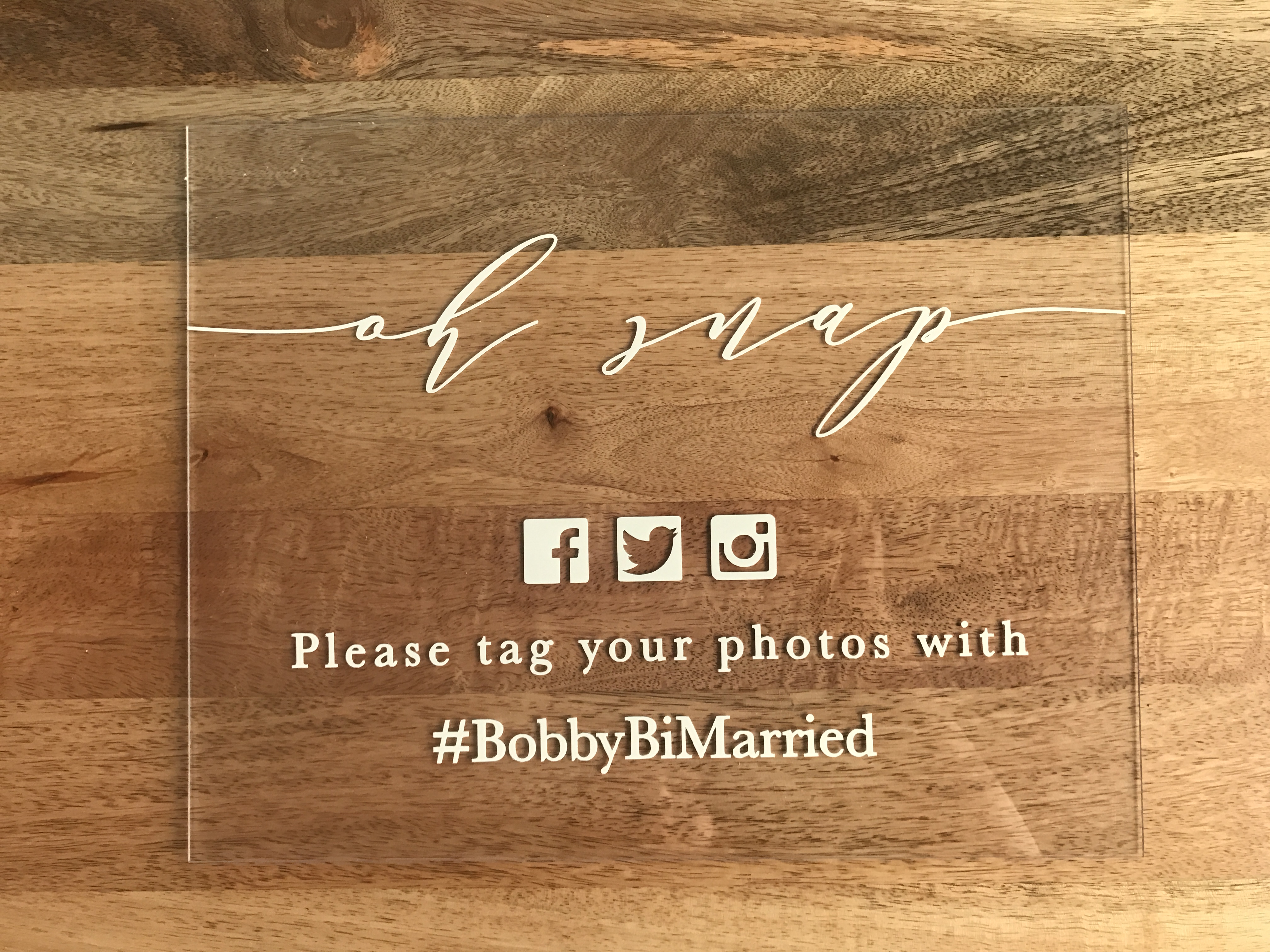 Snazzy Matching Signs All You Need Is A Chalk Asking Not Including Check Outmy Or Post Table Social Media Acrylic Hashtag Sign Customizable To Your Wedding Hashtag wedding Wedding Hashtag Sign
