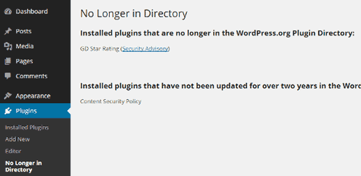 No longer in directory plugin check results