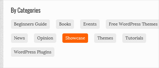 Custom archives page showing categories