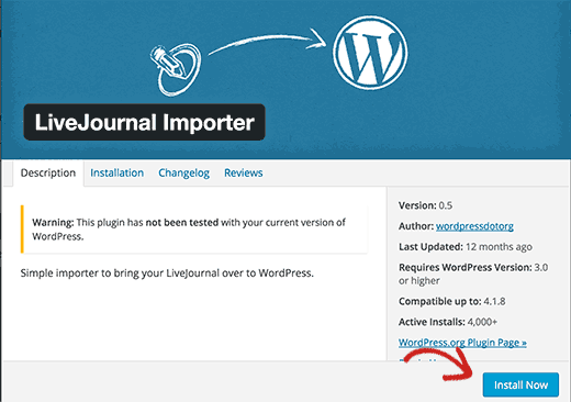 Install LiveJournal Importer