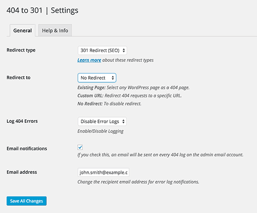 Setup notification and redirect settings with 404 to 301 plugin for WordPress