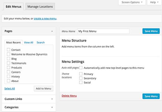 Creating navigation menus in WordPress