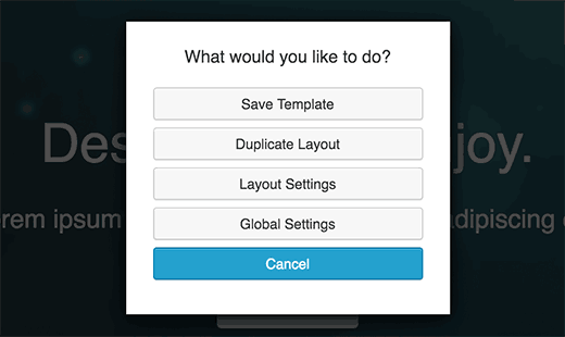 Save layout as template