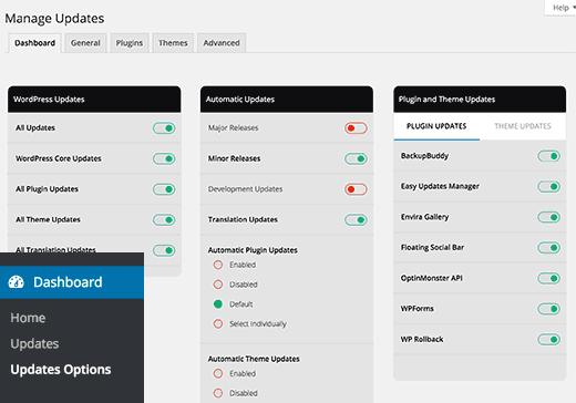 Manage WordPress updates page