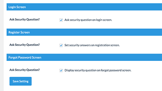 Enable security questions on login, registration, and lost password pages