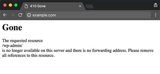 410 error on a website