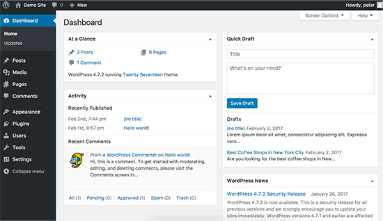 Default WordPress dashboard