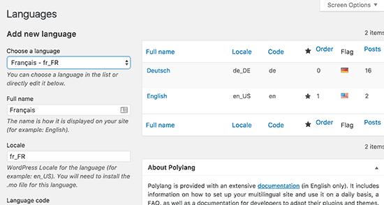 Adding languages in Polylang