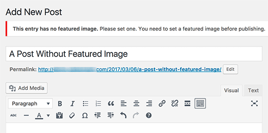 Require featured images for WordPress posts
