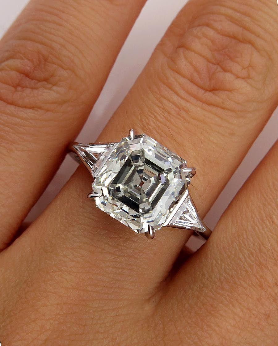Huge Art Deco 5 38ct Asscher huge wedding ring Roll over Large image to magnify click Large image to zoom