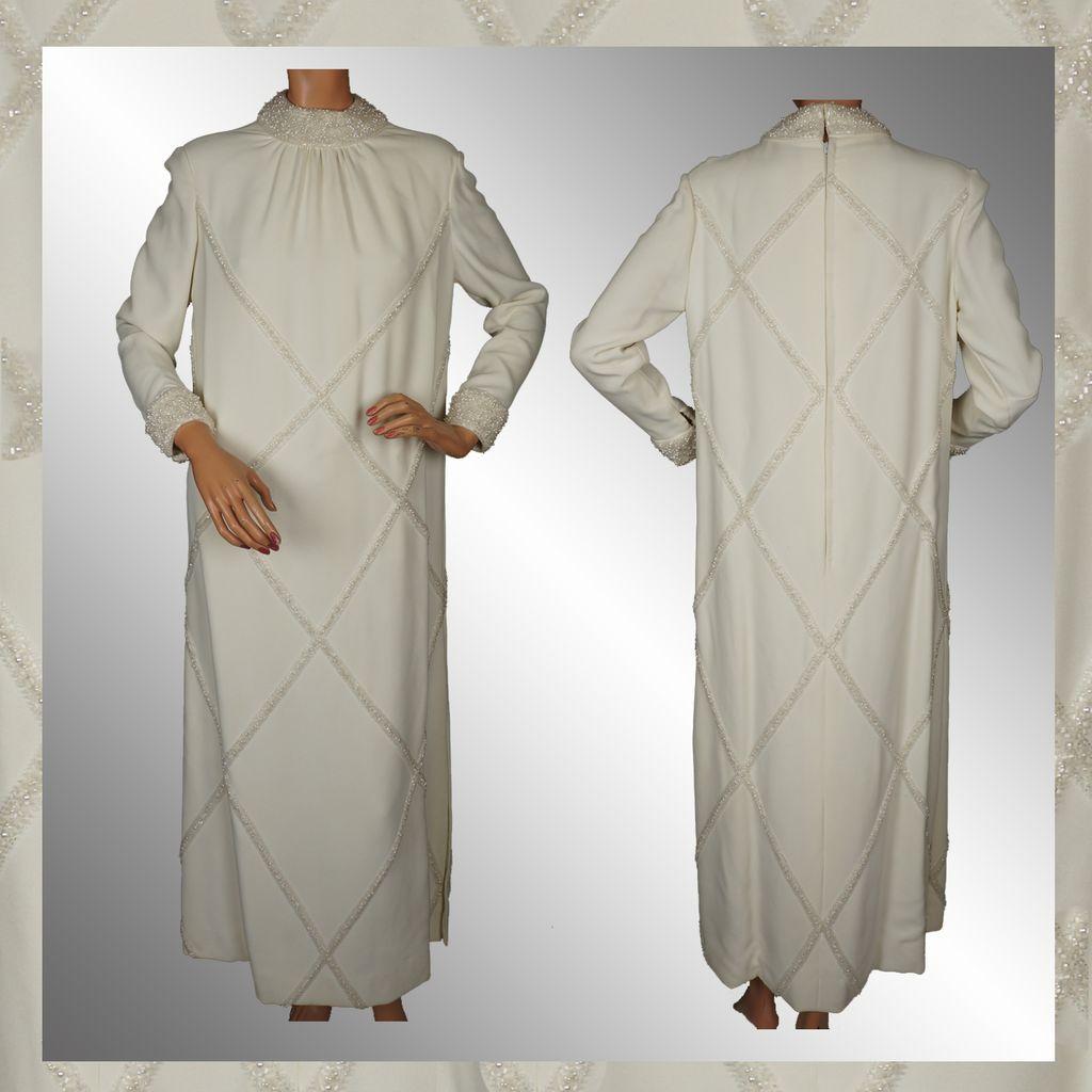 Vintage 60s Beaded Wedding Gown 60's wedding dress Vintage 60s Beaded Wedding Gown Bride Wedding Dress Ladies Size M L