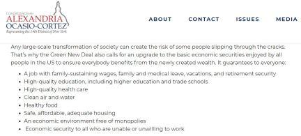 Screenshot from Green New Deal FAQ on Rep. Alexandria Ocasio-Cortez's website. It has since been deleted.