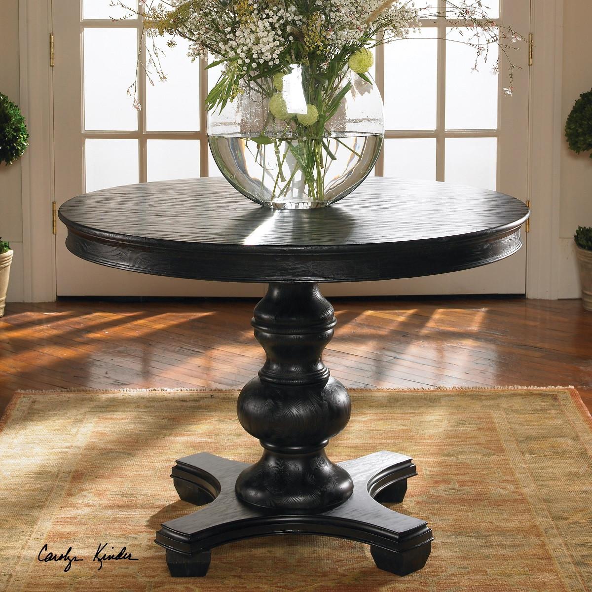 brynmore black round pedestal table 42 round pedestal kitchen table Brynmore black round pedestal accent table 42