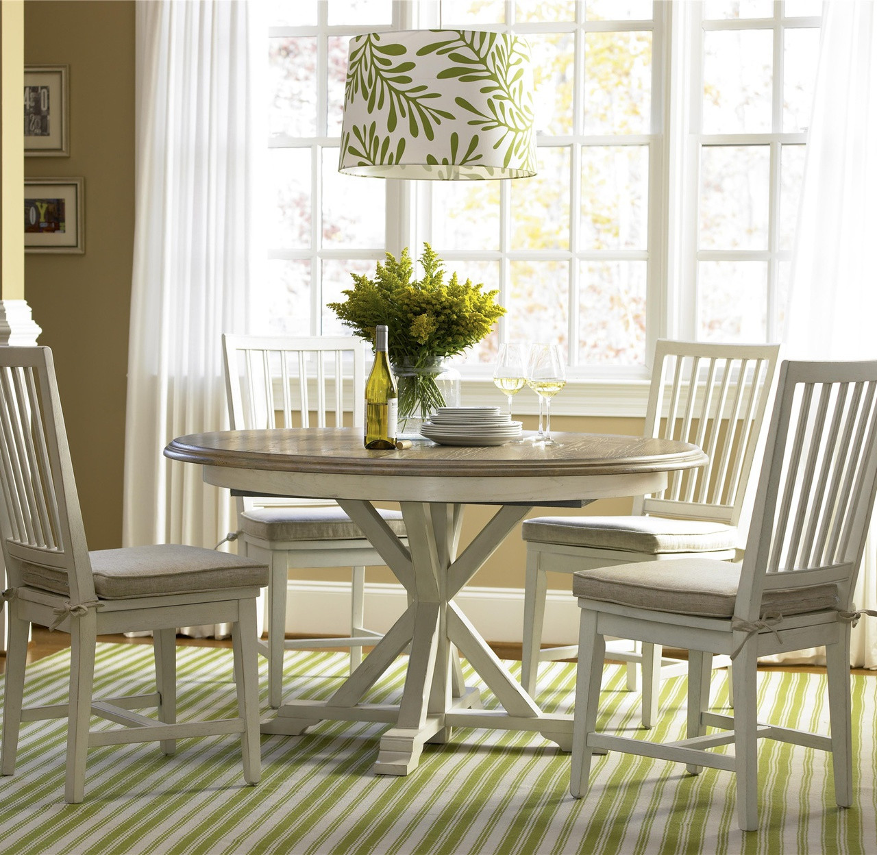 beach cottage kitchen dining tables beachy kitchen table Coastal Beach White Oak Round Expandable Dining Table 54
