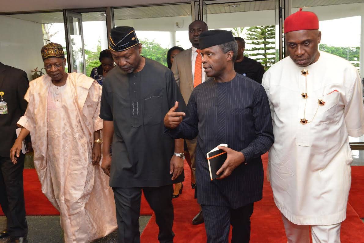 PIC. 4. FROM LEFT: MINISTER OF INFORMATION AND CULTURE, ALHAJI LAI MOHAMMED; MINISTER OF BUDGET AND NATIONAL PLANNING, SEN. UDOMA UDO UDOMA; VICE-PRESIDENT YEMI OSINBAJO; AND MINISTER OF TRANSPORTATION, MR CHIBUIKE AMAECHI, AT THE PRESIDENTIAL QUARTERLY BUSINESS FORUM IN ABUJA ON MONDAY (19/9/16). 6926/19/9/16/ISE/ICE/BJO/NAN