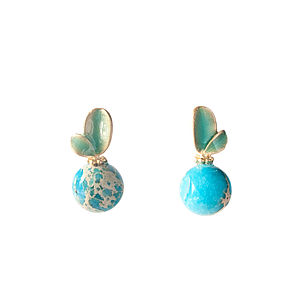 Turquoise Gem Bead Sweet Leaves Stud Earrings