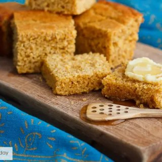 Sprouted whole grain flour cornbread. Pure corn flavor and healthy sprouted wheat flour.
