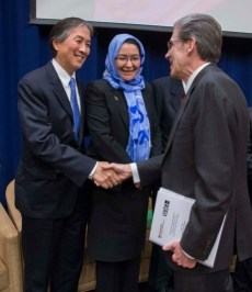 Howard Koh, Assistant Secretary for Health for the U.S. Department of Health and Human Services; Suraya Dalil, MPH '05, Minister of Public Health of Afghanistan; and Dean Julio Frenk.