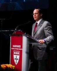 """""""I believe that Harvard School of Public Health succeeds so often in its ambitions because people here are not rigid in their thinking. Instead, they allow the nature of the complex, life-and-death problems they deal with to shape their approach to finding solutions."""" -- Jonathan Lavine, MBA '92, co-chair, HSPH Campaign"""