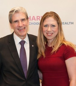 HSPH Dean Julio Frenk and Chelsea Clinton, recipient of the Harvard School of Public Health Next Generation Award.