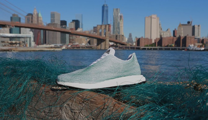 Adidas, in collaboration with Parley for the Oceans, has created a shoe made entirely of recycled ocean waste. Photo: Adidas