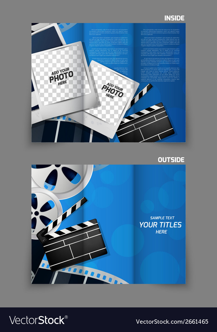 Cinema tri fold brochure design Royalty Free Vector Image Cinema tri fold brochure design vector image