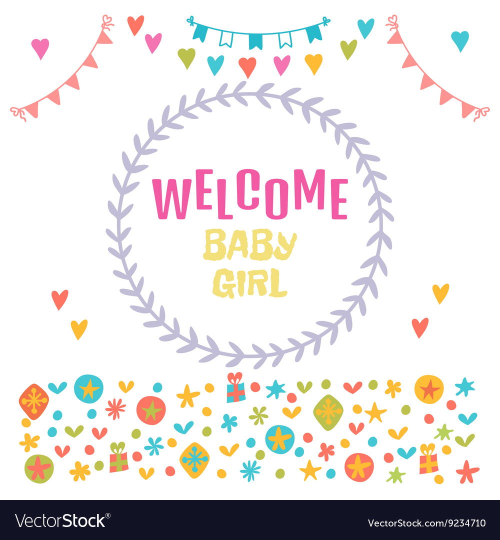 Trendy Welcome Baby Girl Baby Girl Shower Card Baby Vector 9234710 Baby Girl Shower Cookies Baby Girl Shower Gift Ideas baby shower Baby Girl Shower