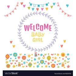 Trendy Welcome Baby Girl Baby Girl Shower Card Baby Vector 9234710 Baby Girl Shower Cookies Baby Girl Shower Gift Ideas