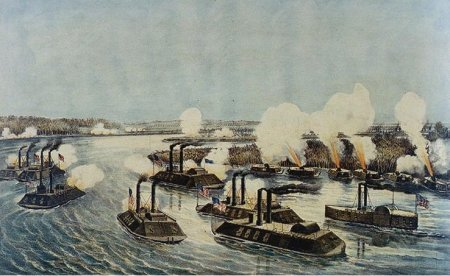 Union ironclad naval attack on the Mississippi River Civil War