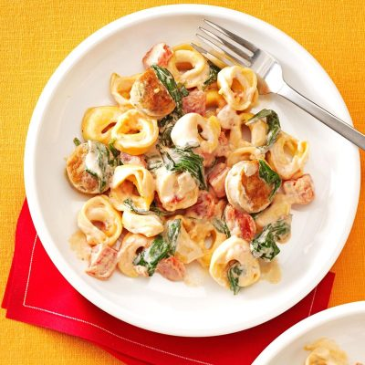 Creamy Tomato Tortellini with Sausage Recipe | Taste of Home