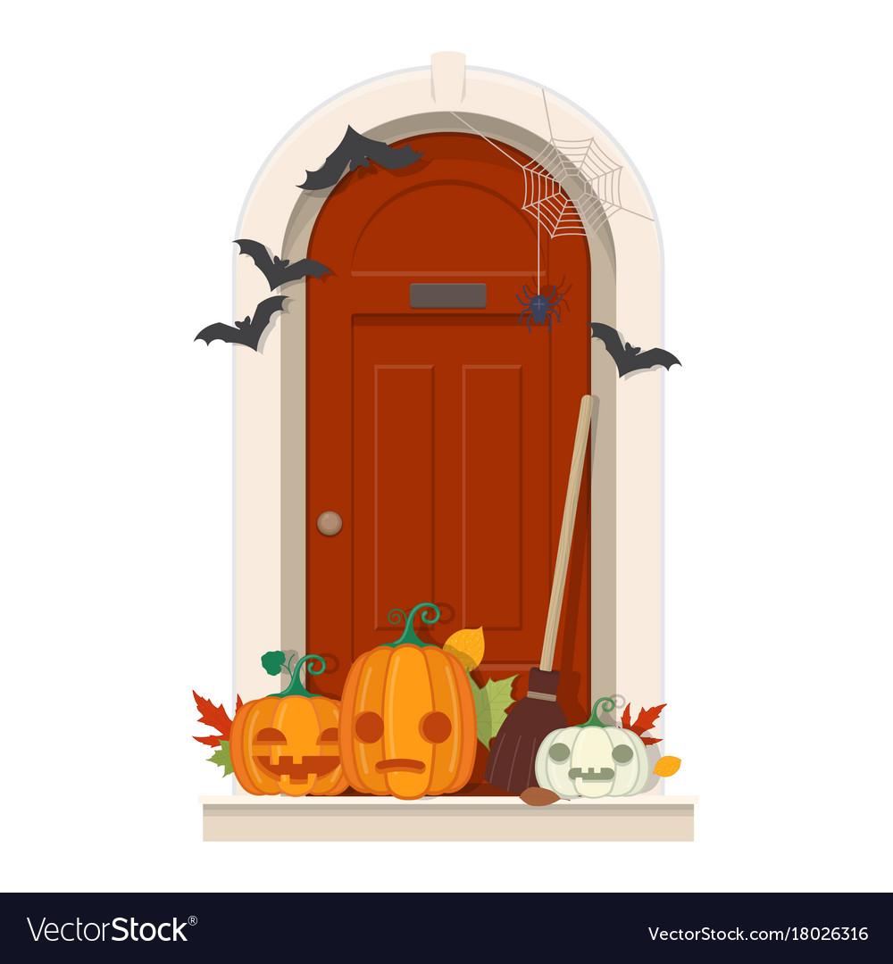 Fabulous Halloween Door Decorations Front Door Toddlers Vector 18026316 Halloween Door Decorations Frankenstein Halloween Door Decorations curbed Halloween Door Decorations