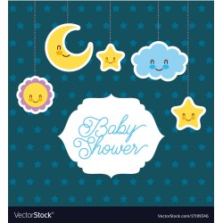 Nifty Baby Shower Card Greeting Cartoon Cloud Star Sun Vector 17199346 Baby Shower Card Message Ny Baby Shower Card Printable Free