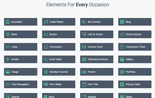 Elements you can drag and drop in Divi - A premium WordPress theme