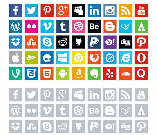 Free flat social media icons by Enfuzed