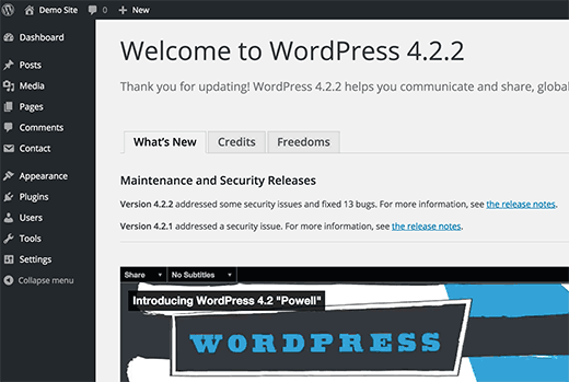 WordPress post installation welcome screen