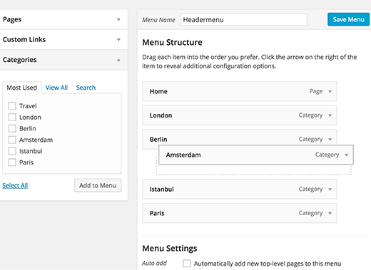 Rearrange menu items in WordPress