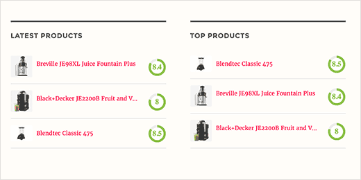 Latest and top product reviews in WordPress sidebar