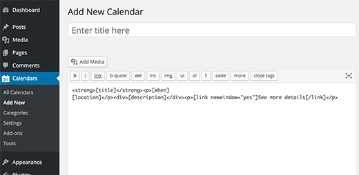 Adding new calendar in WordPress